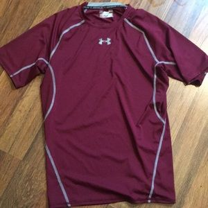 Under Armour Maroon and Grey Compression Shirt